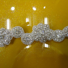 Free shipping new flower crystal rhinestone beaded appliques