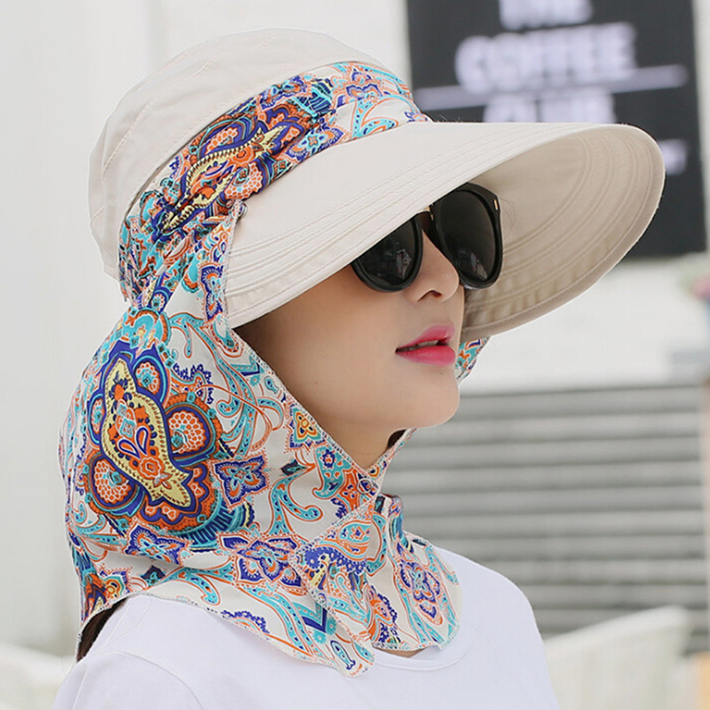 HTB1GBXwNkzoK1RjSZFlq6yi4VXaM - Fashion Women Summer Outdoor Riding Anti-UV Sun Hat Beach Foldable Sunscreen Floral Print Caps Neck Face Wide Brim Hat