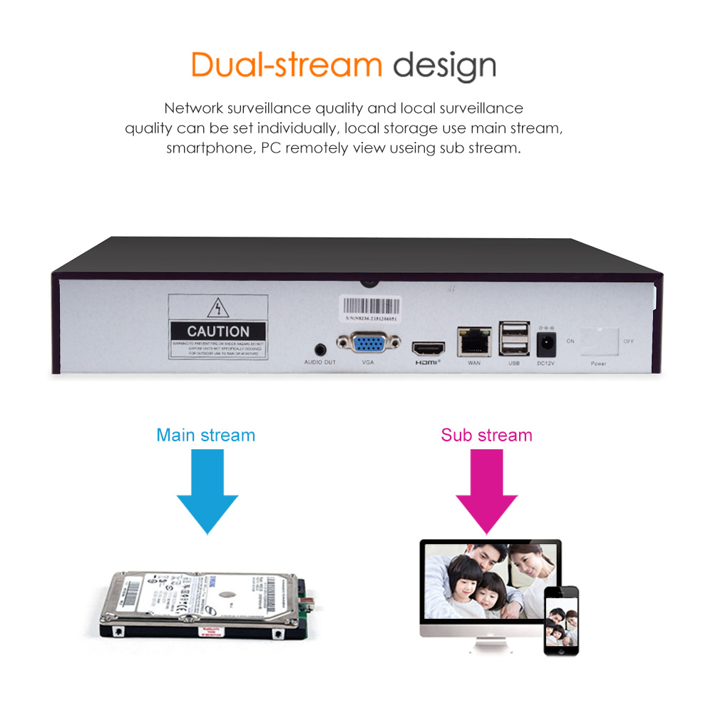 Vstarcam 8CH NVR Audio input HDMI HD Network Video Recorder For IP Camera N8209