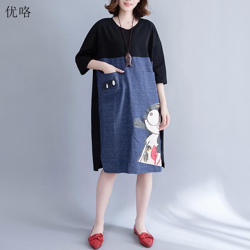 Plus Size Women Denim Dress Linen Cotton Stitching Kawaii Cartoon Printed Dress Female Loose Casual Midi Dresses 2019 Summer 4XL