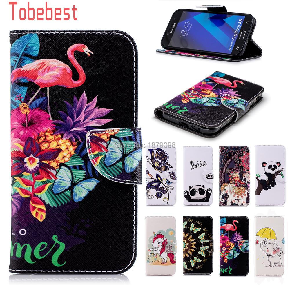 For Samsung Galaxy A5 2017 A520 A520F SM-A520F PU leather Case Unicorn Panda Elephant Flamingos Butterfly Flip Wallet Cover