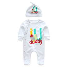 New 2018 Winter spring youngsters's child garments I Love Mam Dad cotton long-sleeved new child child boys woman Jumpsuit Romper and hat