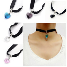 1pc New Winter Fashion Retro Punk Gothic Velvet Crystal Heart Necklace Tattoo Collares Bijoux For Women Jewelry Clavicle Choker(China)