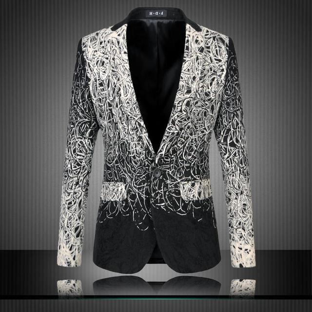 2017 M-6XL hombres floral blazer hombres blazer designs mens blazer chaqueta veste homme traje negro traje casual hombres chaqueta delgada ajuste