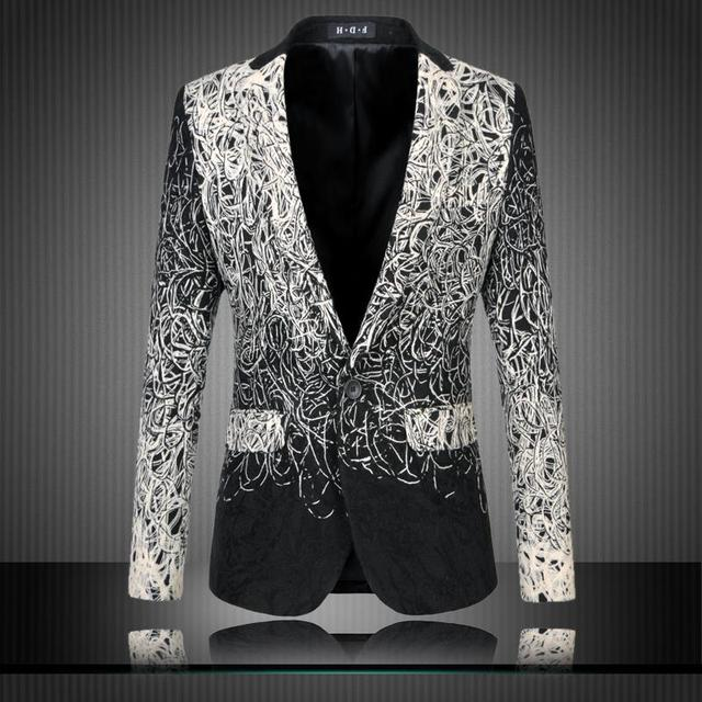 2017 M-6XL mens floral blazer men blazer designs mens blazer jacket veste homme costume black casual suit men blazer slim fit