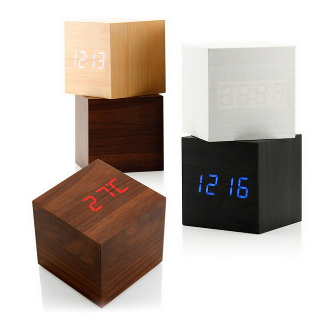 Cube Wooden Clock Voice Control LED Digital alarm clock Desk Snooze Electronic table Watch Nixie Wood Bedside Alarm Clock
