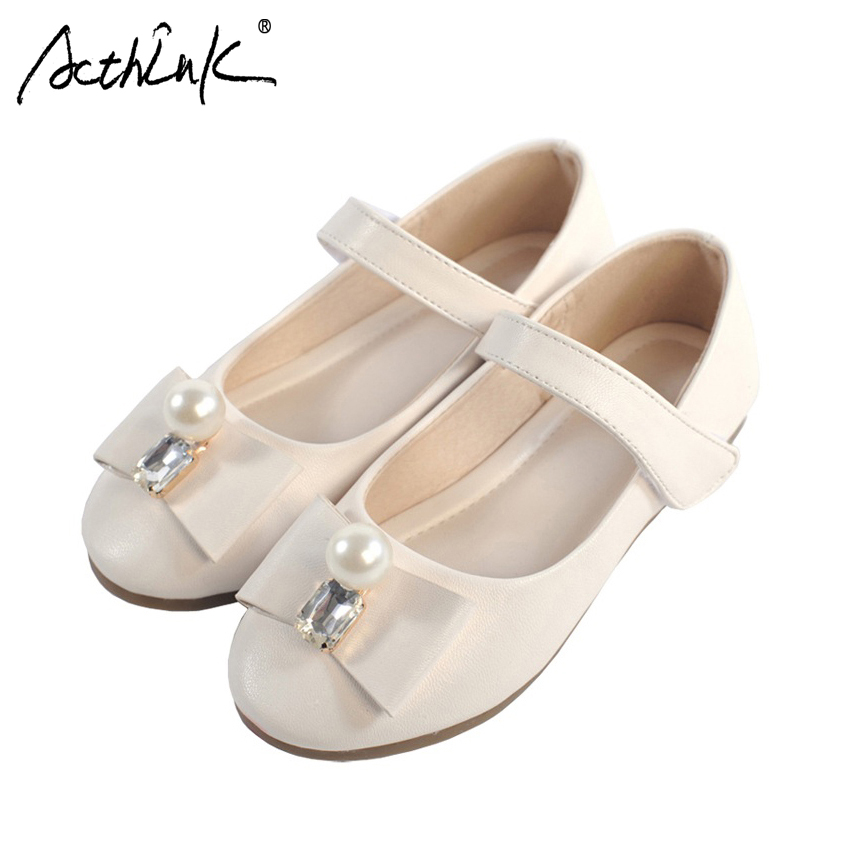 ActhInK New 2017 Girls Wedding Leather Shoes with Pearls Brand Bridesmaids PU Leather Shoes Girls Performance/Party Shoes, S023