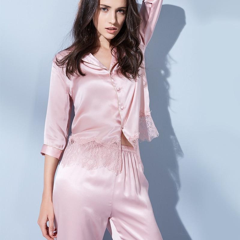 Summer Women Pure Silk Pajamas Set 100% Real Natural Silk Top+Pants Ladies Lace Solid Nightwear Sleepwear Nighty Pijama Pyjamas