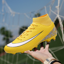 Men Football Boots Soccer Cleats AG Boots Long Spikes TF Spikes Ankle High Top Sneakers Soft Indoor Turf Futsal soccer Shoes Men цена