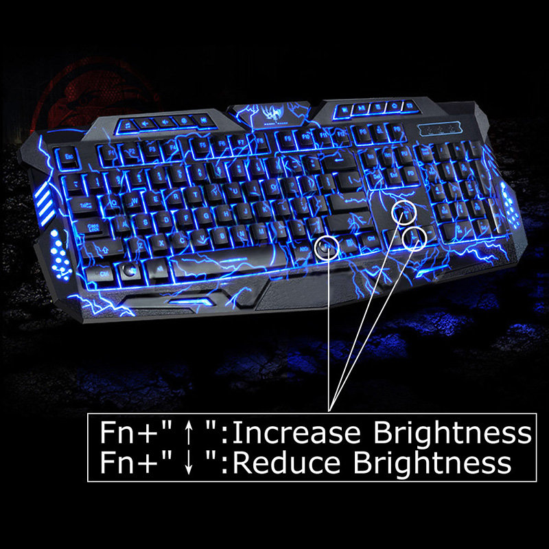 100% Original LED Game Keyboard 3 Colors Crack Illuminated USB PC Gaming Keyboard Adjustable Backlight Keyboard For Lol Dota