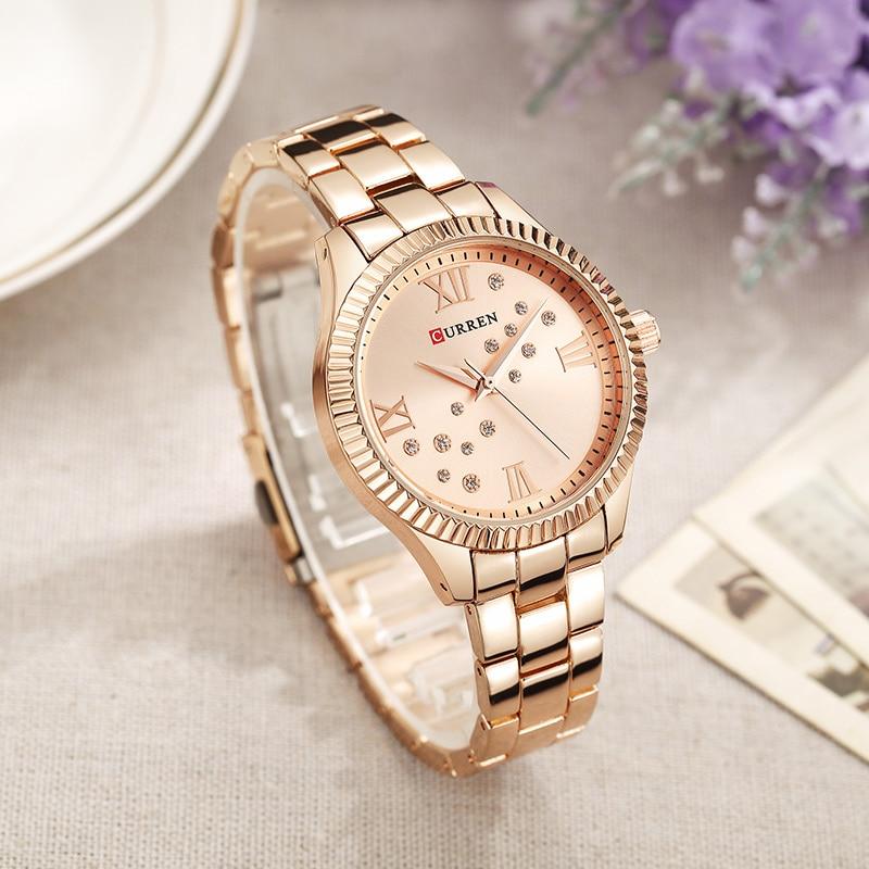 Relogio Feminino 9009 Curren Womens Watches Top Brand Luxury Gold Black Quartz Watch Waterproof Full Steel Ladies Dress Watches