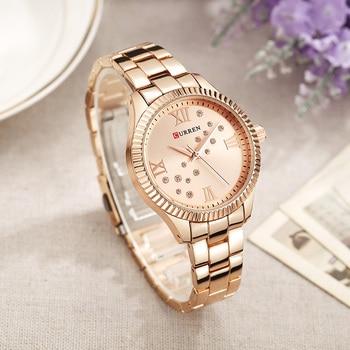 relogio feminino 9009 Curren Womens Watches Top Brand Luxury Gold Black Quartz Watch Waterproof Full Steel Ladies Dress Watches дамски часовници розово злато