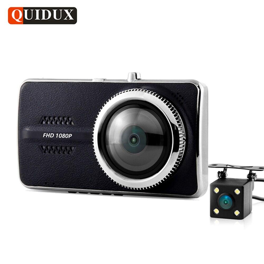 QUIDUX двойной объектив 4-дюймовый автомобильный видеорегистратор полный высокой четкости 1080p Автомобильный видеорегистратор 96658 РЗП видеорегистратор НОВАТЭК H. 264 G-сенсор две камеры