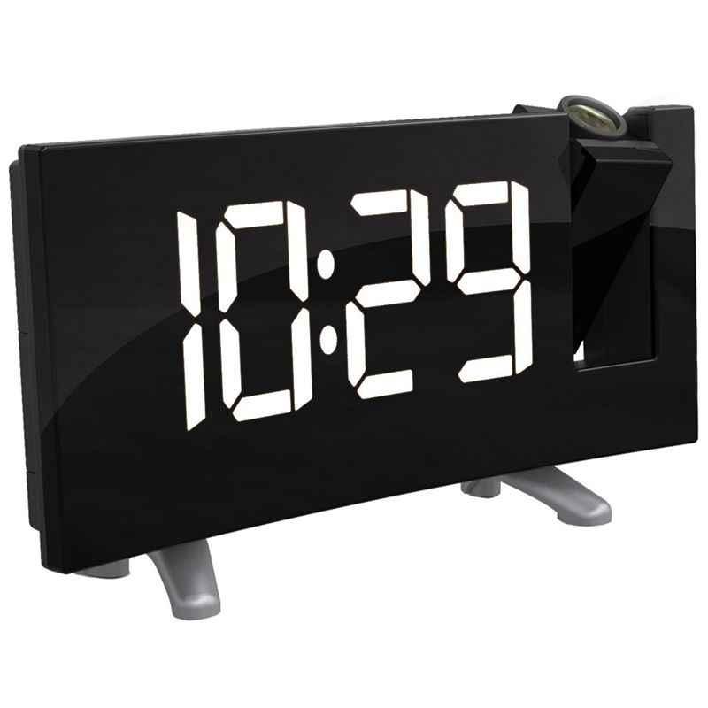 Цифровой радио Будильник Проекция Повтор времени температура светодиодный дисплей USB зарядный кабель 180 градусов стол настенный fm-радио, часы