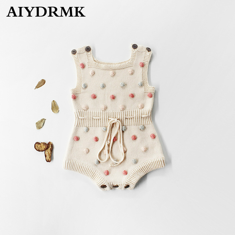 Knitted Newborn Baby   Rompers   Baby Clothes Cotton Colors Pompom Woolen Baby Girl   Romper   Ruffle Infant Baby Boys Jumpsuit Overalls