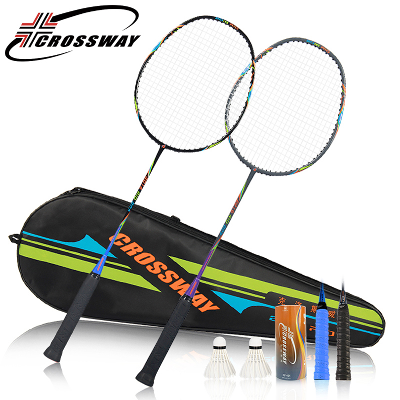 CROSSWAY 2PCS New Powerful badminton racket strong ultra light high modulus graphite badminton rackets male racquet fitness 805
