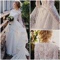 Mangas compridas 2017 Praia Vestidos de Casamento A-line Gola Alta Do Laço Do Vintage Do Vestido de Casamento Vestido de Noiva vestido de Noiva Vestido De Noiva