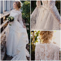 Mangas largas 2017 Beach Wedding Dresses Una Línea de Cuello Alto de Encaje de La Vendimia Vestido De Novia Vestido de Novia vestido de Novia Vestido De Noiva
