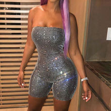 Sexy Hot Women Sequins High Waist Playsuit Jumpsuit party Strapless Off Shoulder