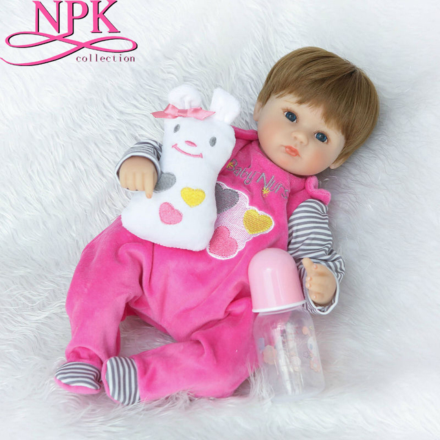 NPKCOLLECTION 16Inch Hot Sale Bebe Realista Menina Doll Reborn Lifelike Girl Reborn Babies Silicone Dolls Toys for Children