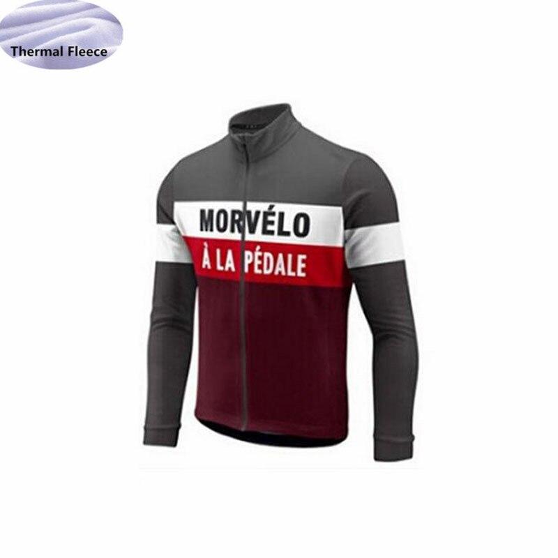 12fc10905 2018 Long Sleeves bike Cycle Clothing Pro Team MORVELO Fleece Thermal  Winter Cycling