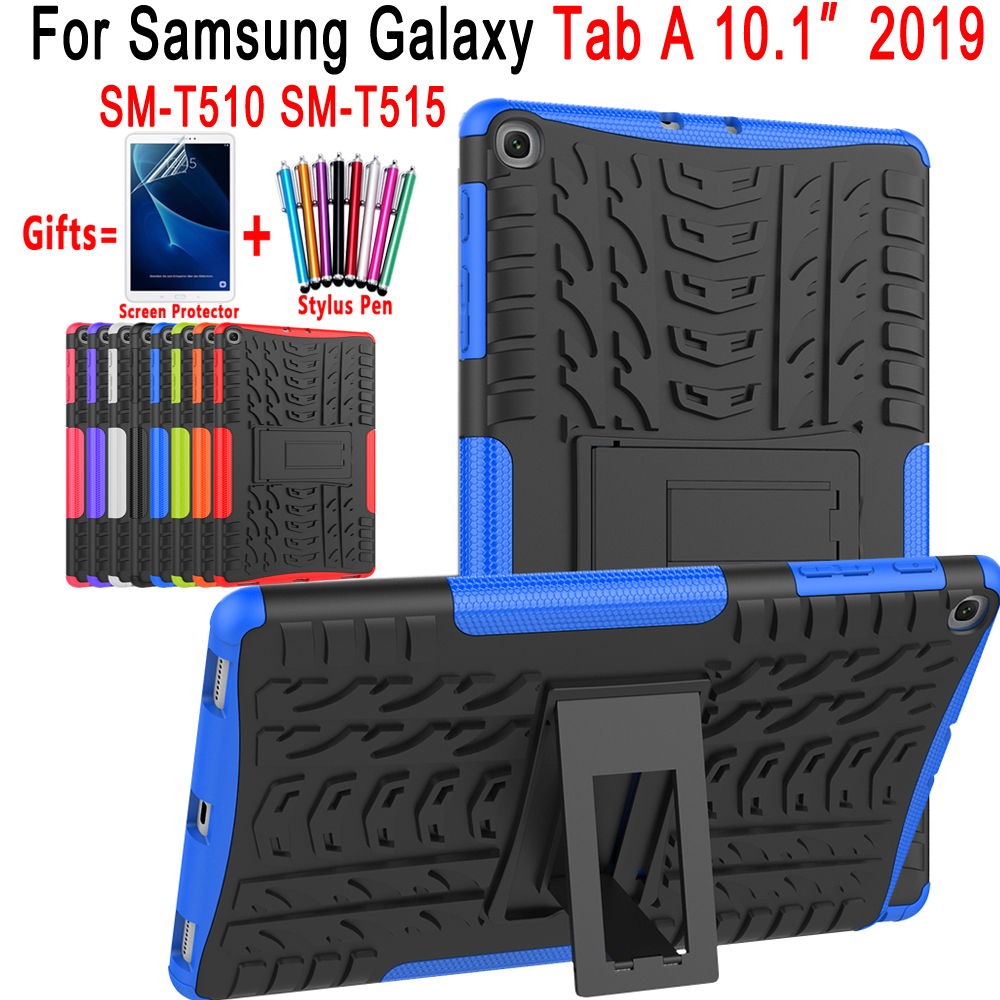 Silicon Cover For Samsung Galaxy Tab A 10.1 2019 Case T510 T515 SM-T510 SM-T515 Drop Resistance Coque Funda Capa + Pen + Film