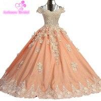 2017 Bóng Gown Satin Evening Dresses Flowers Sequins Beading Sò-Cổ Dài Elegant Orange Đảng Prom Dress Robe De Soiree