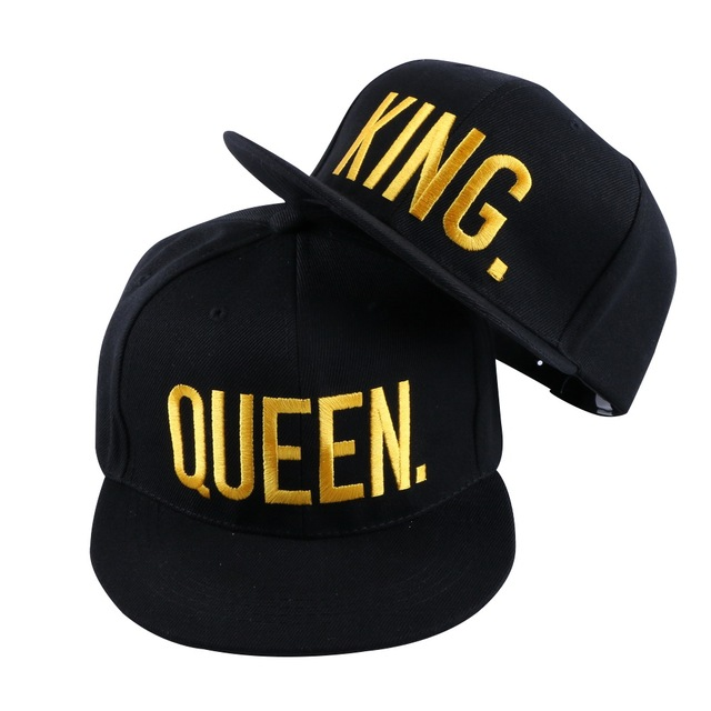 b6305c0ca09 new fashion women men sports baseball cap hat gold embroidery KING QUEEN  letter fashion snapback hip hop girl boy casquette