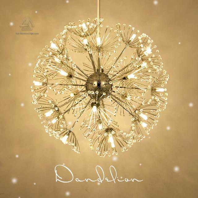 Creative Led Crystal Pendant Lamp Dandelion Chandelier Light Fixture For Dining Room Bedroom Res De Cristal