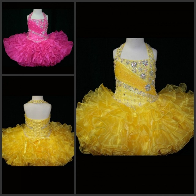 Glittering Short Mini Crystals Organza Ruffle Skirt Glitz Pageant Dresses  for Little Girls Toddler Yellow Cupcake Party Dresses 821fe22d5733
