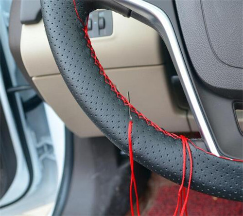 Car Styling Real Cowhide Leather Hand Sewing Auto Steering Wheel Covers With Needles and Thread Automobile Accessories