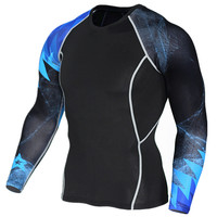 Plus XXXXL Men Compression Tight Skin Shirt Long Sleeves 3D Prints Rashguard Fitness Base Layer Weight