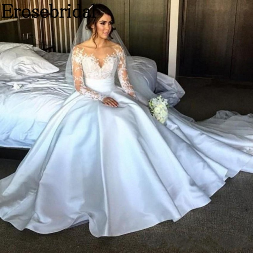 Erosebridal Stain Ball Gown Wedding Dress 2018 Long Sleeve Elegant Lace Bodice Illusion Back with Button robe de mariee