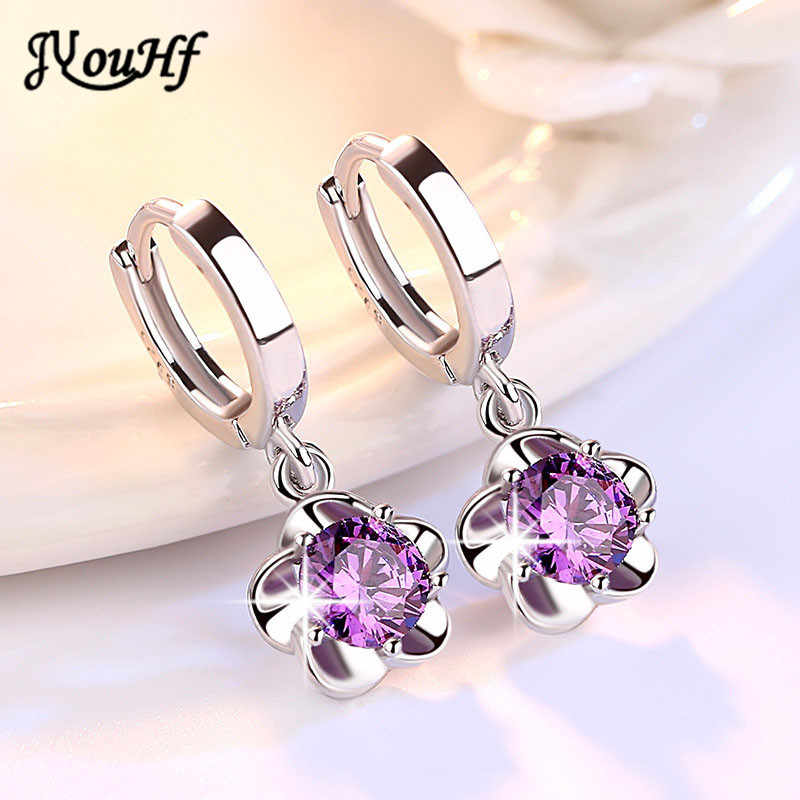 JYouHF Flower Drop Earrings Fashion 925 Sterling Silver White Purple CZ Zircon Crystal Earrings for Women Wedding Jewelry Gifts
