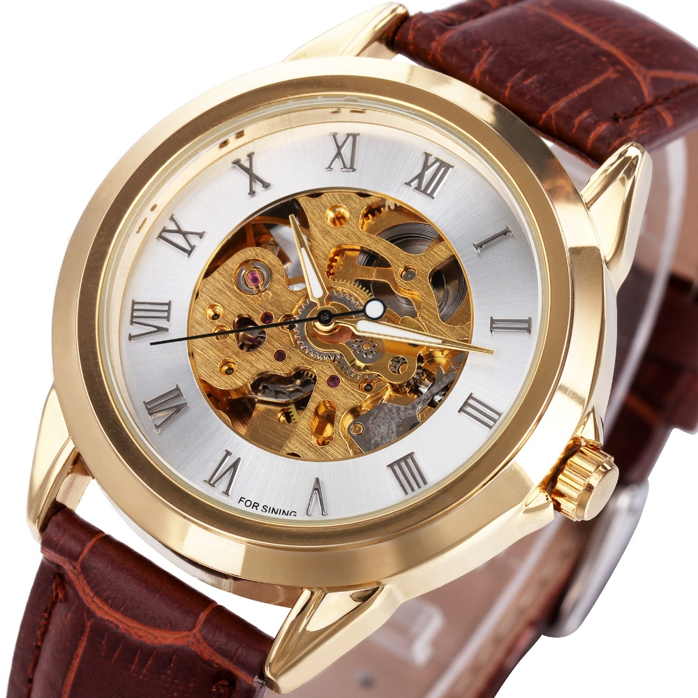 WINNER Luxury Men Automatic Mechanical Watch Golden Polished Stainless Steel Case Roman Number Dial Soft Leather Cool Men Watch
