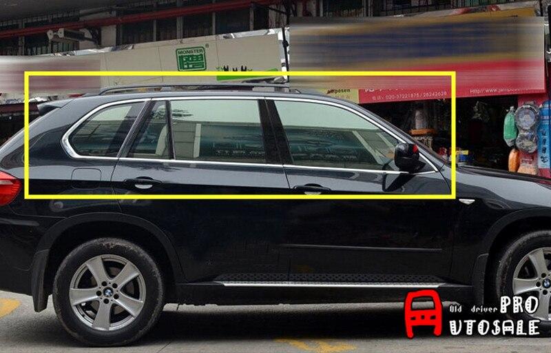 Pour BMW X5 E70 2008 2009 2010 2011 2012 2013 Inoxydable Extérieur Fenêtre Couvercle Garnitures Accessaories 10 pièces