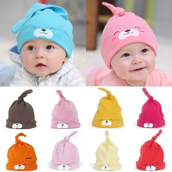 Kawaii dessin animé ours impression bébé bonnet de nuit sommeil bonnet  printemps été enfants garçon fille coton chapeau bonnet pour 1 3 ans  enfants dans ... adb68a19bc4