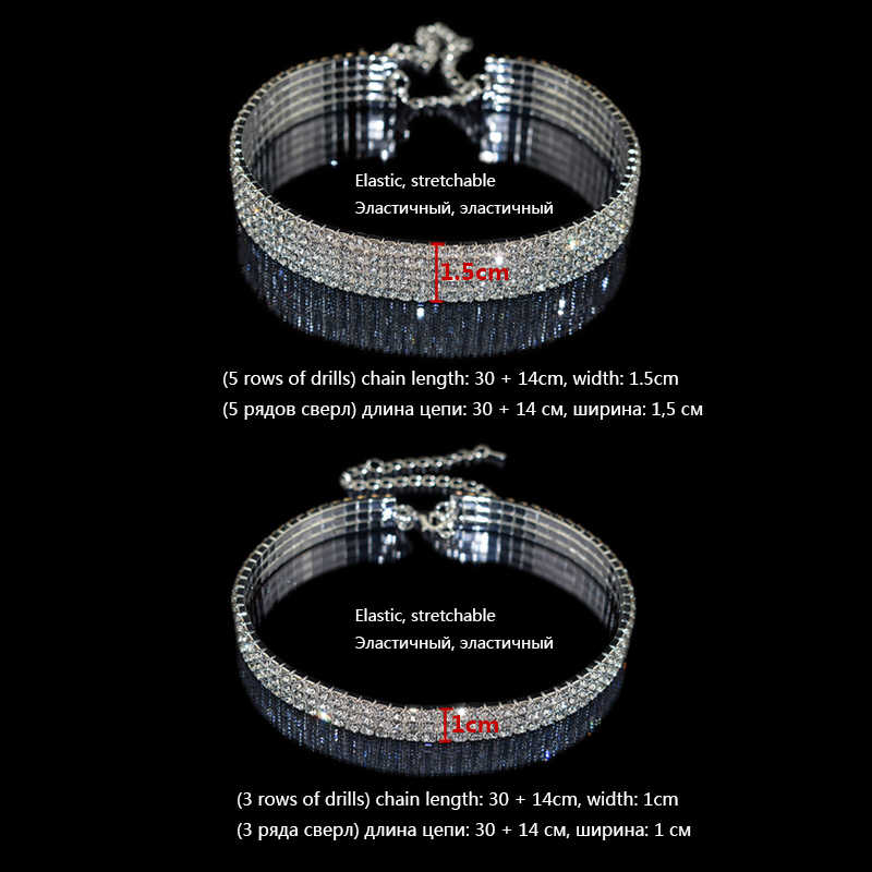 Gothic Luxury stretchable elastic force Crystal Choker Necklaces Charms Rhinestone Neckless Chocker For Women Wedding Jewelry