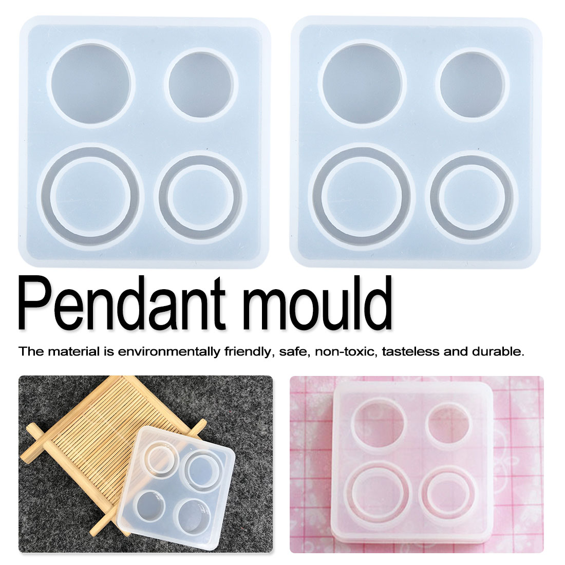 1pcs Water Crystal Glue Round  Circle Pendant Silicone UV Mold For Making Pedant Jewelry Exoxy Resin Molds Jewelry Tools
