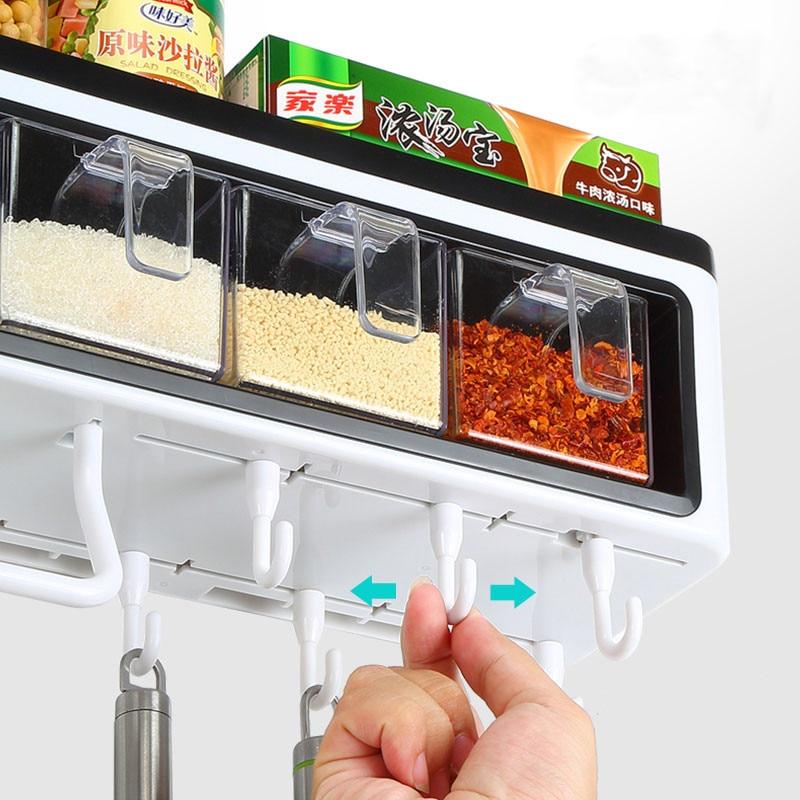 Настенные кухонные столовые приборы приправа для хранения ножей с крюком ABS пластиковые полки для ванной комнаты для домашнего декора - 6