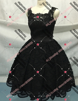 3D Black Lace Bridesmaids Dresses Knee length Ball Gown Real Photos Unconventional Black Bridesmaid Gown