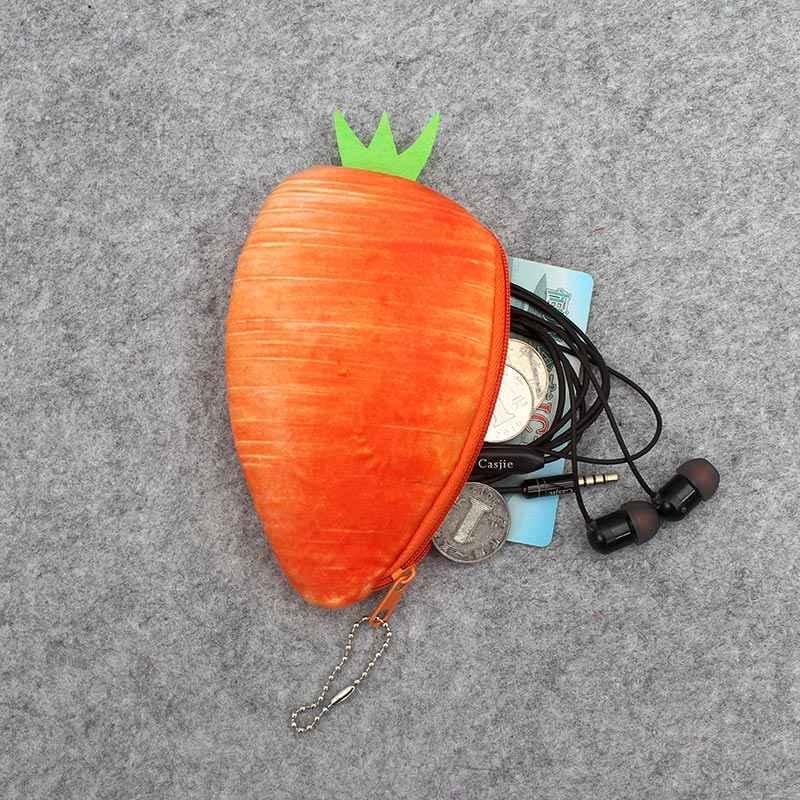 Vegetais dos desenhos animados 3D das Crianças de Pelúcia Senhora Coin Purse & Carteira Bolsa de Bolsa Pingente SACO Titular Bolsa De Armazenamento de Maquiagem bolsa