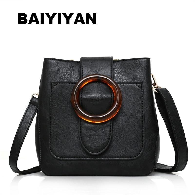 New High Quality Soft PU Leather Retro Bucket Bag Shoulder Bag Female Crossbody Bag Ladies Circle hasp Saddle Bag apricot soft plain pu crossbody bag