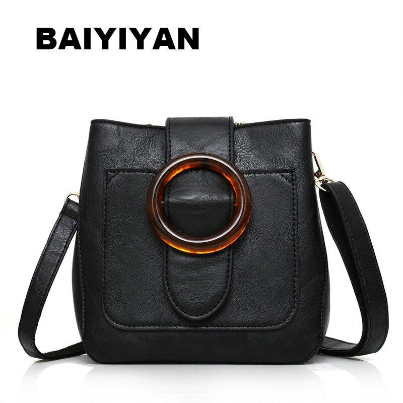 New High Quality Soft PU Leather Retro Bucket Bag Shoulder Bag Female Crossbody Bag Ladies Circle hasp Saddle Bag