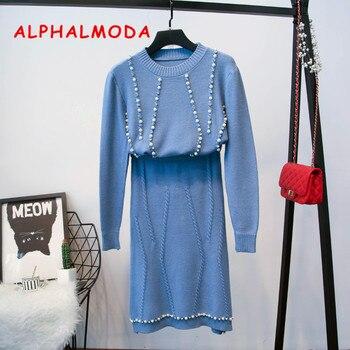 baa16aa47 ALPHALMODA 2018 otoño mujer conjuntos sueltos de un solo pecho cuello V  Plaids Cardigan + alta cintura falda delgada de punto Casual trajes