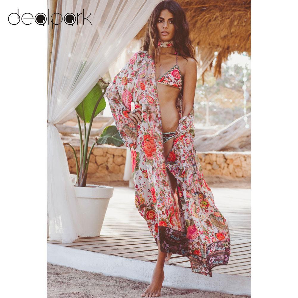 2019 Summer Beach Cover Up Long Kimono Women Floral Print   Blouse     Shirts   Loose Cardigan Elegant Long Sleeve blusas mujer Orange