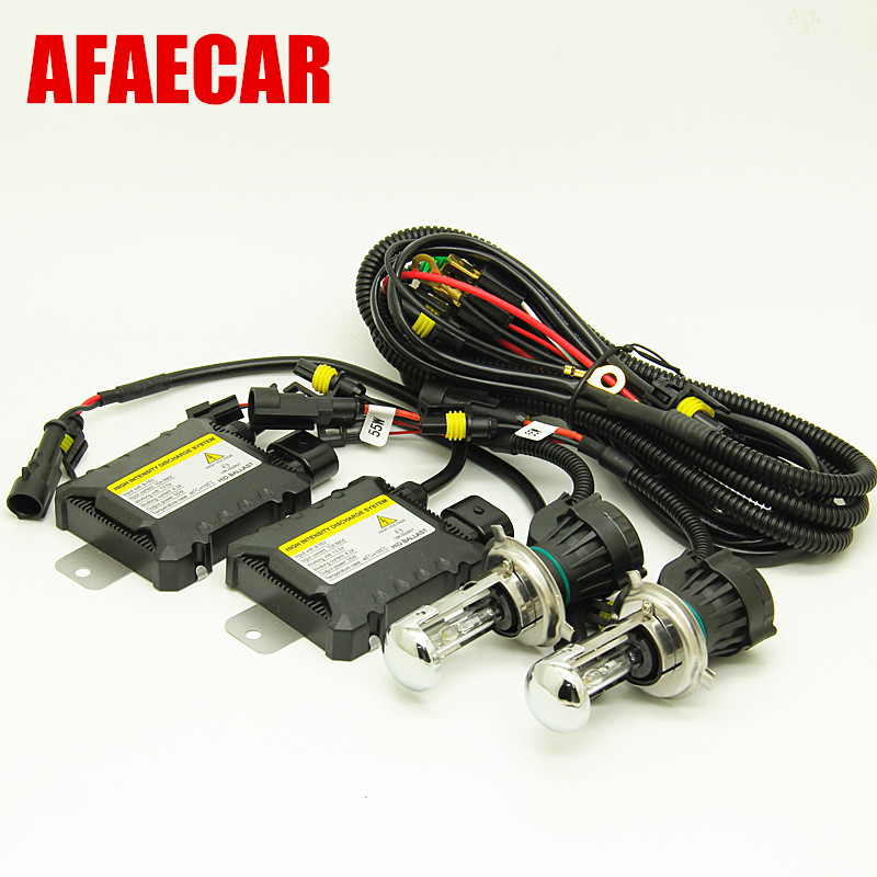 AFAECAR DC 12V 55W bi xenon H4 bixenon H4 3 highlow hid Headlight Kit 4300k 6000k