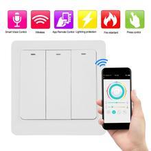 100-240V AC Smart Switch Panel Wall Button 1/2/3 Gang WIFI EU Plug Remote APP Control with Alexa