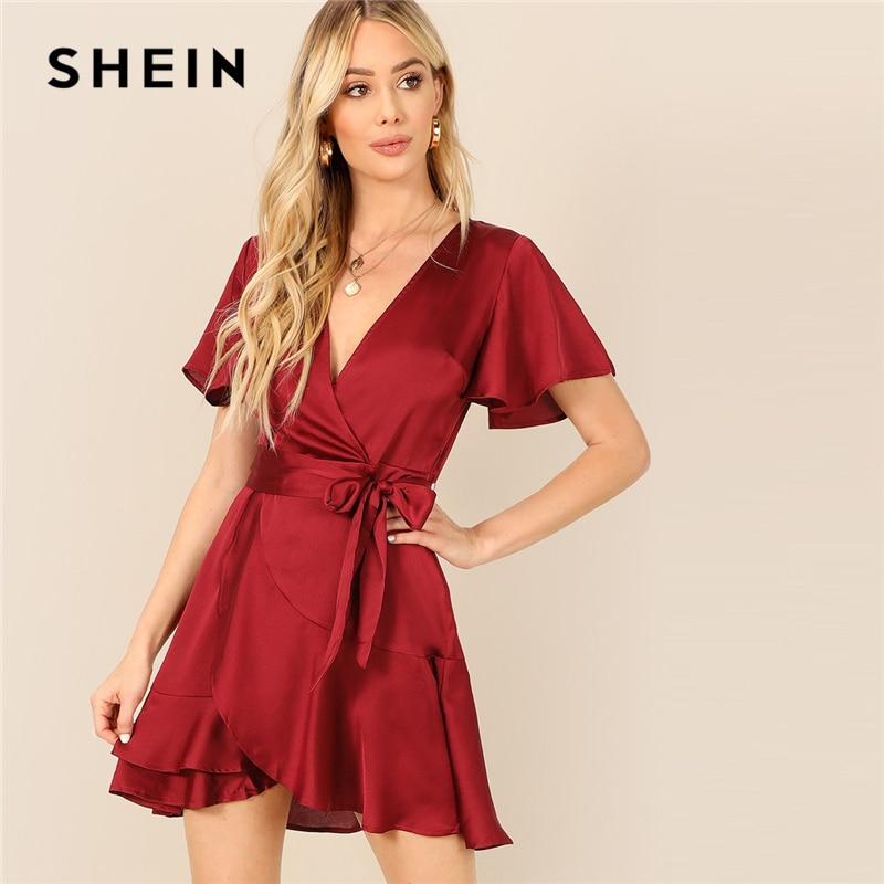 SHEIN бургундское платье с рукавами-колокольчиками и разрезом на спине с v-образным вырезом, летнее платье для вечеринок, Женские однотонные п...