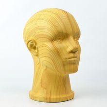 57 CM High Quality Fiberglass Plus Size Male Imitation Wood Mannequin Dummy Head,Manikin Head
